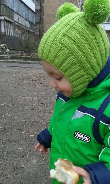 Связать шапочку шлем для мальчика на год