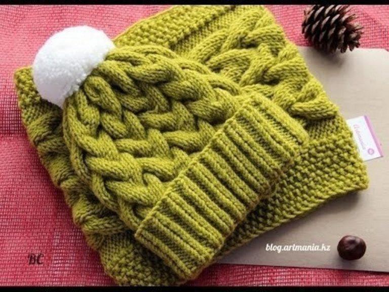 Шапки косами вязание спицы