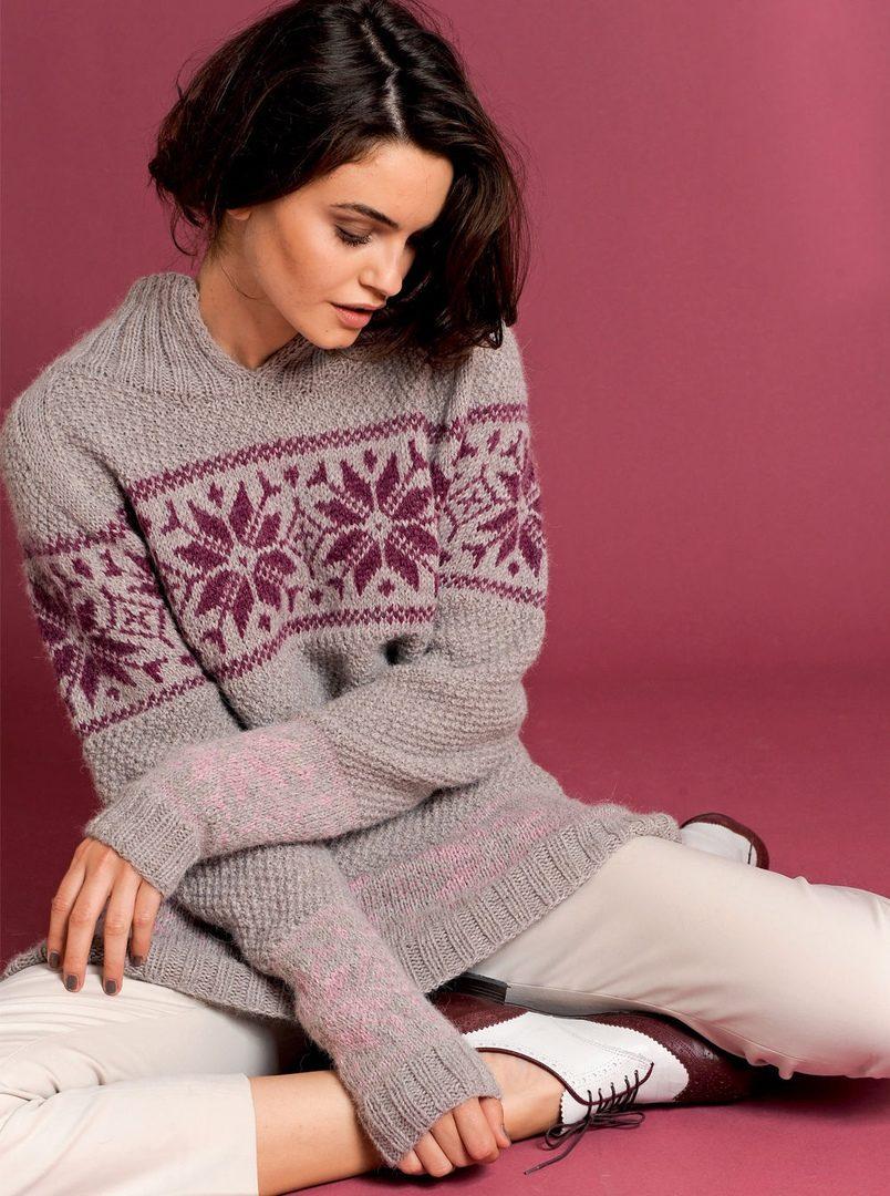 Платье -свитер с жаккардовыми узорами