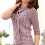 Красивый женский свитер спицами