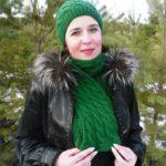 Вязание шапки и шарфа с узором «Косы»