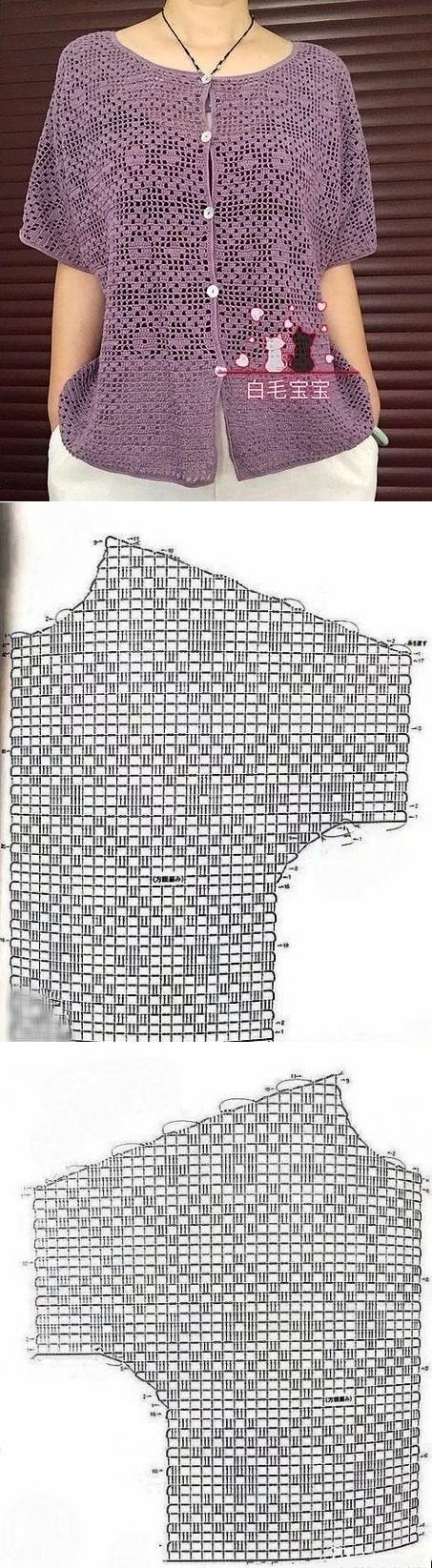 Красивая летняя кофточка в технике филейного вязания